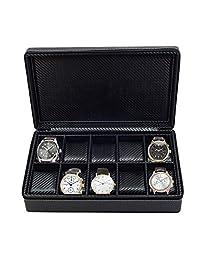 10 块手表公文包黑色碳纤维拉链旅行收纳盒 50MM 男士礼物