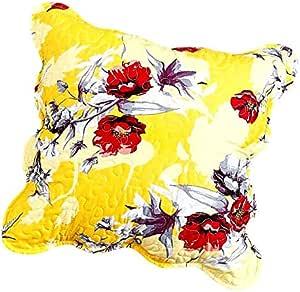 "DaDa Bedding Radiant Sunshine 黄色绗缝欧式枕套和抱枕套 - 花卉蜂鸟 - 扇形边缘多彩红色花朵 Yellow Hummingbirds 18"" x 18"