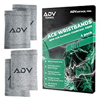 ADV 竹炭 Ace 腕带 - 超吸水 - 高舒适度压缩 - 双倍宽,超薄 - 经过专业测试和设计