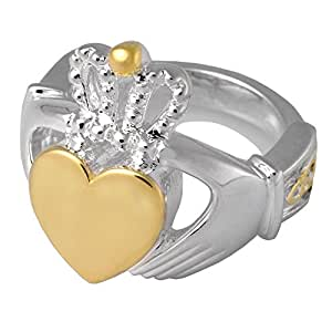 Memorial Gallery 2015S-5 Claddagh Ring Sterling Silver Two Tone Cremation Pet Jewelry, Size 5