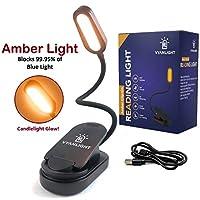 床上阅读书灯,琥珀夹式阅读灯,99.95% 蓝光阻隔,可充电 1600K 暖光 LED 灯,可调节亮度,便于阅读,适用于 Kindles
