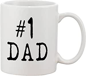 P&B #1 Dad Mug Gift For Dad And Grandpa! Ceramic Tea Coffee Cup Mugs 白色 11 oz.