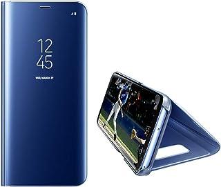 HONTECH 兼容 Galaxy S10 保护套,半透明视镜翻转电镀支架硬质电脑套 蓝色