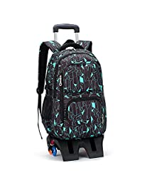 ZIRANYU 男生女生儿童六轮/高脚六轮拉杆书包小学生中学生2年级-9年级拉杆双肩背书包可拆卸时尚书包9113 7款颜色可选