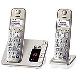 Panasonic 松下 电话机KX-TGE222GN  2 个电话 + 答录机 香槟