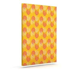 "Kess InHouse Apple Kaur Designs ""Wild Summer Dandelions""金色圆圈户外帆布墙壁艺术 20"" x 24"" 金色 SA1011AAC04"
