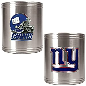 NFL New York Giants Two Piece Stainless Steel Can Holder Set - Primary & Helmet Logo