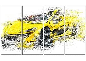 """数字艺术 PT2631-32-16""""黄色异域汽车""""帆布艺术印刷品"""