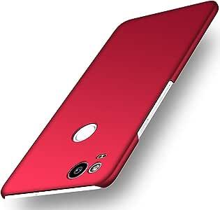 Avalri 薄型 Google Pixel 2 手机套丝滑表面极简,适用于 Google Pixel 2 2017 丝绸红