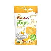 Happy Baby 有机Yogis酸奶小吃,冻干酸奶&水果零食,香蕉芒果味 1盎司(28g)(8包装),无人造香料,无麸质,Non-GMO,犹太洁食