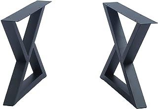 2 件家具腿乡村装饰三角形桌腿,重型金属桌腿,餐桌腿,工业现代,DIY 铁长凳腿(高 15.7 x 宽 17.7 英寸)