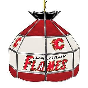 Trademark Gameroom NHL Calgary Flames 16 英寸手工制作 Tiffany 风格灯