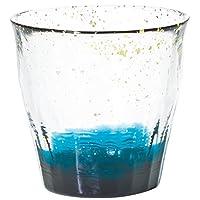 ADERIA tsugaruvidro rock 玻璃杯 深蓝色 300ml 水华金彩 碧 木盒装 日本制造 F71467