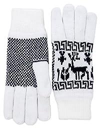 Wantdo 女式 3M Thinsulate 羊毛衬里冬季针织手套保暖麋鹿图案手套