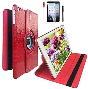 360 度旋转智能皮革保护套,适用于 iPad Air * 2 代保护壳 For Apple iPad Air 2nd Generation case 红色鳄鱼