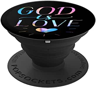 水彩 God Is Love PopSockets 手机和平板电脑握架260027  黑色