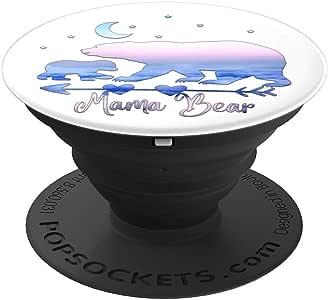 浅蓝色粉色渐变天空妈熊和一只幼崽白色波波震动器握柄和支架,适用于手机和平板电脑260027  黑色