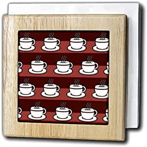Janna Salak Designs Food and Drink - Coffee Lover Gift - Coffee Cups Print - Red - Tile Napkin Holders 天然 6 inch tile napkin holder