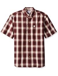 Carhartt 男士基本格子纽扣短袖衬衫