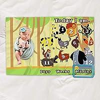 Baby Milestone 毛毯男孩女孩 - 婴儿照片月婴儿毯 - 婴儿年龄毯 照片月里程碑毛毯 - 新生儿成长毯 - 适合新生儿的成长毯 - 性别中性道具