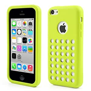 JUJEO Colorful Circle Hole Silicone Shell with Apple Logo Cutout for iPhone 5C - Non-Retail Packaging - Green