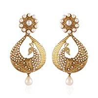 I Jewels Traditional Gold Plated Peacock Shaped Pearl Earrings for Women EM2251W (White)