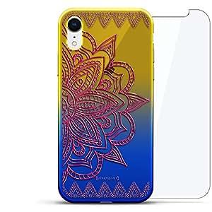 奢华设计师,3D 印花,时尚,高端,高端,Chameleon 变色效果,360 保护玻璃包手机套 iPhone Xr - Dusk Blue Tamara,现代字体名字LUX-IRCRM2B360-MANDALA6 ORNAMENT: BIG PINK MANDALA 蓝色(Dusk)