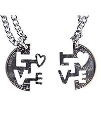 Marycrafts 套装手工切割硬币 I LOVE YOU 项链联锁项链珠宝关系 BFF