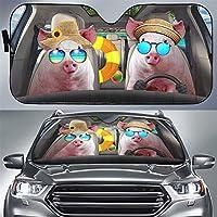 假日猪司机前挡风玻璃遮阳罩,猪汽车挡风玻璃遮阳罩,宠物汽车罩防止紫外线保护车内,有趣的动物汽车遮阳板