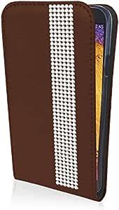 eSPee GN3NBo027 保护壳翻盖手机壳带水钻镶边硅胶减震器和磁扣适用于 Samsung Galaxy Note 3 Neo N9005 棕色