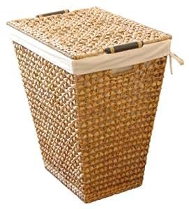 LAMONT 家庭杏色手工编织洗衣篮带可拆卸衬垫,自然色