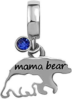 JMQJewelry Mom Mama Bear Mother Love Child Jan-Dec 珠子手镯女式珠宝