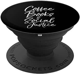 可爱的社交正义礼物 女式咖啡书和社会正义流行袜子 手机和平板电脑握架260027  黑色
