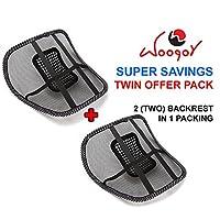 Woogor WGR-BACKRESTDBL01 rtable Mesh Ventilate Car Seat Office Chair Massage Back Lumbar Support (Pack OF 2)(Black_Medium)