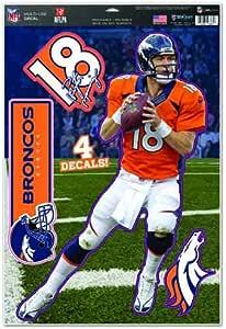 WinCraft NFL 丹佛野马队 Peyton Manning 多用途贴纸,27.94cm x 43.18cm,球队颜色