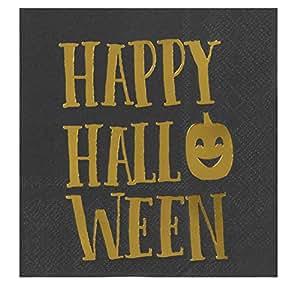鸡尾*餐巾 - 50 件装午餐巾,一次性纸巾,万圣节派对用品,3 层,展开式 25.4 x 25.4 厘米,折叠 12.7 x 12.7 厘米 Happy Halloween