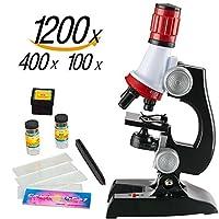 Microscope for Kids 科学套装 — 儿童初学者玩具,带 LED 100X、400x 和 1200x 放大儿童科学玩具,红色