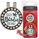 带磁夹的高尔夫球标记女式 - Fun Talk Birdie to Me 高尔夫礼品套装非常适合妻子或女友 - 这款高尔夫配件包括 2 个高尔夫球标记和一个帽子夹