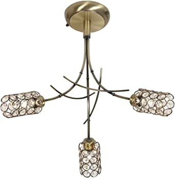 Oaks Lighting Vika 古铜色天花板配件,带水晶玻璃灯罩