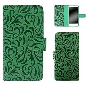 白色边框手机保护壳翻盖式 トライバルエンボス  绿色 4_ AQUOS mini SH-M03