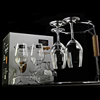 EDELITA 意大利意德丽塔 水晶红酒杯冷切口葡萄酒杯香槟大号高脚杯酒架套装礼盒(350ml奥德魅影6支装、酒架)