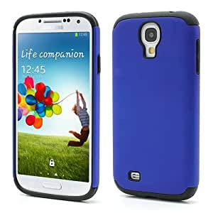 Jujeo 橡胶塑料和硅胶混合保护套,适用于三星 Galaxy S 4 i9500 m919 - 黑色/深蓝色