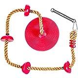 Soarin Supply Co... 儿童攀岩绳,带*固定平台和圆盘秋千座椅 - 秋千套装附件配件 红色