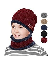 男童女童冬季针织无檐帽围巾套装保暖厚羊毛衬里帽
