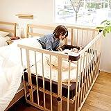 Farska 全实木婴儿床/多功能带滚轮加长大可调高低进口榉木松木宝宝BB床 (大号)(亚马逊自营商品, 由供应商配送)