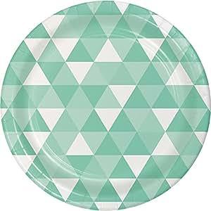 Creative Converting 324469 96 个桌子/小纸盘,法国黑色天鹅绒 Fractal Fresh Mint 大 324475