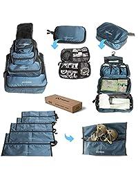 女士、男士和家庭高级旅行配饰 - 10 件超值装,4 个收纳包,4 个防水鞋/旅行洗衣袋,洗漱用品收纳袋和电子收纳袋,适合旅行时使用。