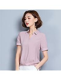 AOSENDUN 奥森盾 不规则下摆女士雪纺衫 性感V领设计短上衣 薄款夏季纯色短袖 TRNZ-LXH89115