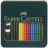 Faber-Castell 辉柏嘉 110012 – Polychromos 系列艺术家彩色铅笔,Polychromos 系列金属盒装+ Castell 9000