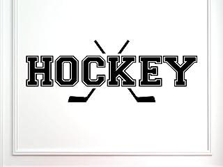Vinylsay 1268.Hockey-M.Black -33x12 曲棍球运动墙贴花,33 x 12 英寸,哑光黑色